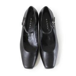 リーガル【送料無料】レディースフォーマル黒パンプスストラップ靴REGAL6769ブラック本革ビジネスリクルート就活就職活動仕事冠婚葬祭