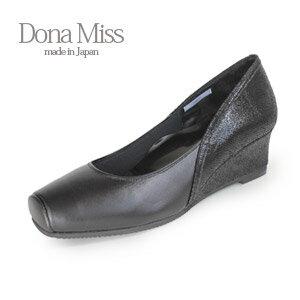 コンフォート パンプス Dona Miss ドナミス 7002 黒 ワイズ 3E コンフォートシューズ レディース ウエッジ 靴