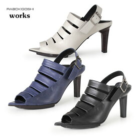 RABOKIGOSHI works サンダル ラボキゴシ ワークス 靴 11818 本革 バックストラップ ハイヒール プラットフォーム ストーム レディース セール