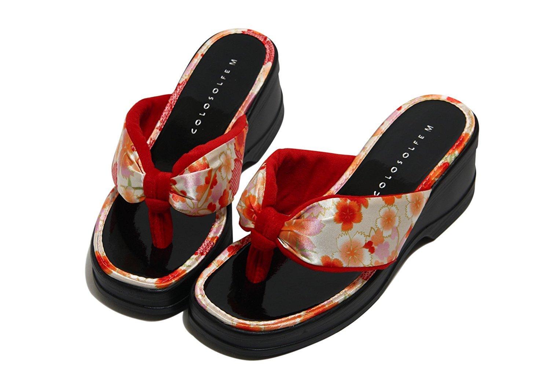 サンダル レディース 女性 桜 ウレタンソール 日本製 ヒール約6cm 黒 赤 紺 k58027
