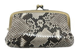 【クーポン配布・ポイント増量中!】本革 蛇革 パイソン ニシキヘビ 財布 がま口 日本製