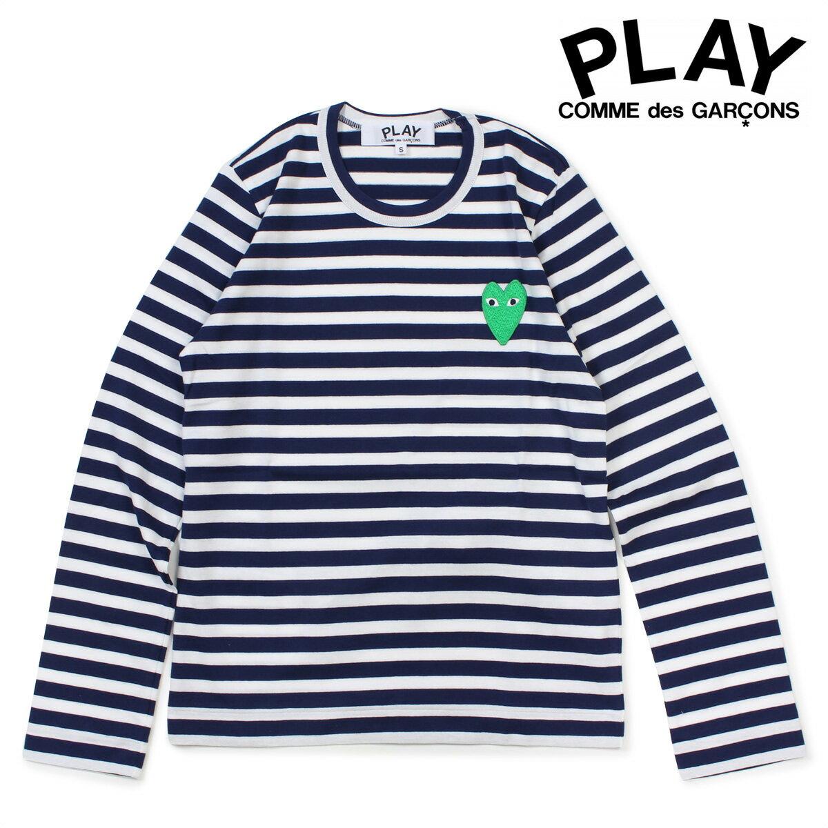 COMME des GARCONS PLAY HEART LS T-SHIRT コムデギャルソン レディース Tシャツ 長袖 ボーダー カットソー AZ-T051 ホワイト