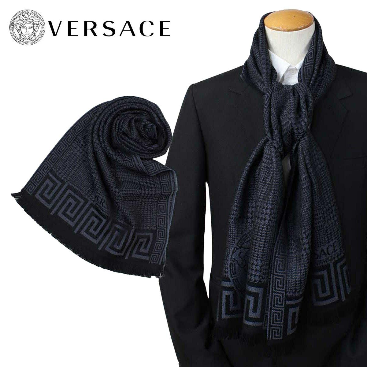 VERSACE マフラー ヴェルサーチ ベルサーチ メンズ ウール イタリア製 カジュアル ビジネス 0665