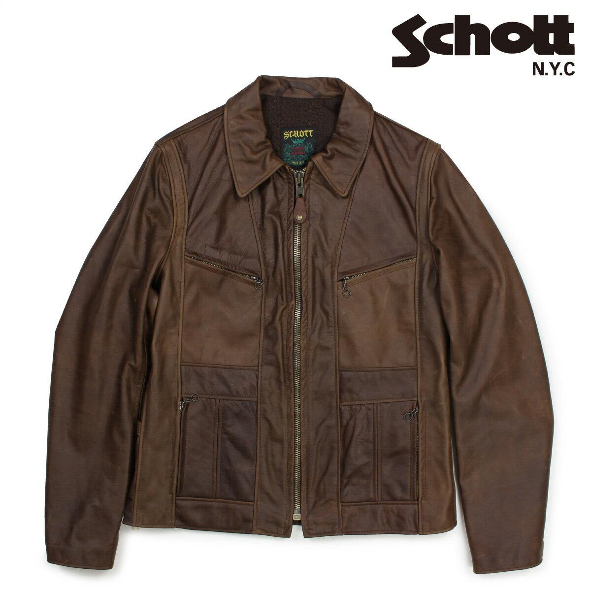 Schott MOTORCYCLE JACKET ショット シングルライダースジャケット ジャケット レザージャケット メンズ ブラウン 502