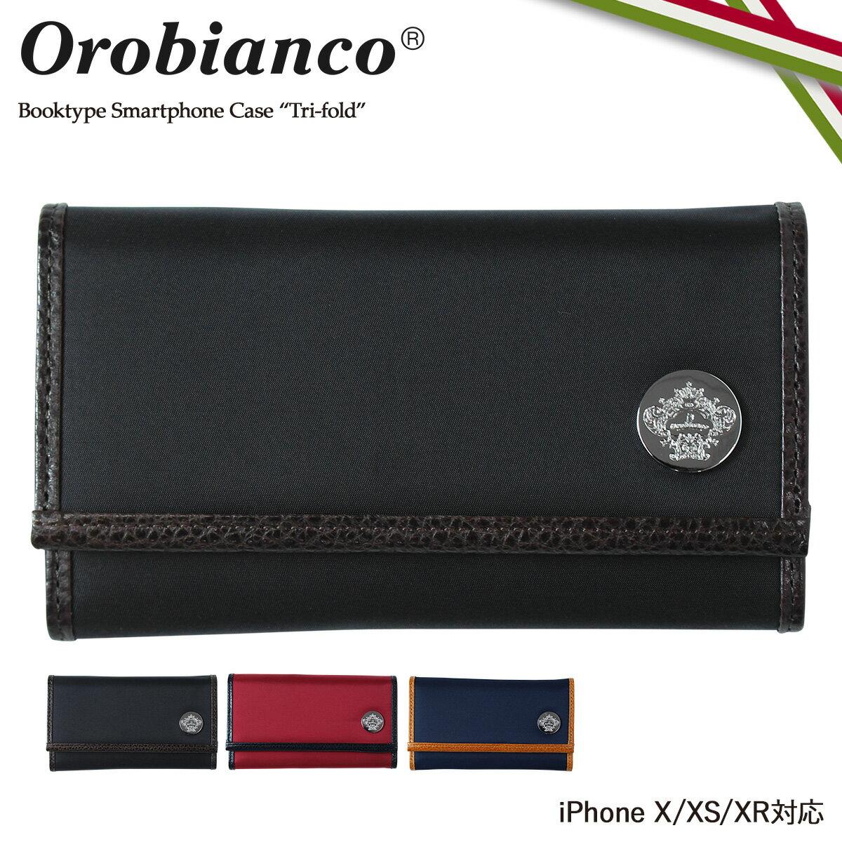 Orobianco TRI-FOLD オロビアンコ iPhone XR X XS ケース 手帳型 スマホ アイフォン レザー メンズ レディース ORIP-0005