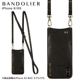 BANDOLIER iPhone XS X NICOLE GOL バンドリヤー ケース ショルダー スマホ アイフォン レザーD メンズ レディース ブラック 10NIC1001 [10/31 再入荷]