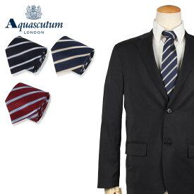 AQUASCUTUM アクアスキュータム ストライプ ネクタイ メンズ イタリア製 シルク ビジネス 結婚式 ブラック ネイビー レッド 黒 ブランド