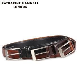 KATHARINE HAMNETT LONDON LEATHER BELT キャサリンハムネット ロンドン ベルト レザーベルト メンズ 本革 ブラック ブラウン ダーク ブラウン 黒 KH505015 [10/15 新入荷]