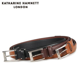 KATHARINE HAMNETT LONDON LEATHER BELT キャサリンハムネット ロンドン ベルト レザーベルト メンズ 本革 ブラック ブラウン ダーク ブラウン 黒 KH506015 [10/15 新入荷]