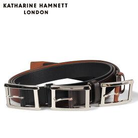 KATHARINE HAMNETT LONDON LEATHER BELT キャサリンハムネット ロンドン ベルト レザーベルト メンズ 本革 ブラック ブラウン ダーク ブラウン 黒 KH506028 [10/15 新入荷]
