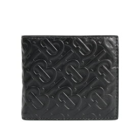 BURBERRY MONOGRAMED LEATHER BILL COIN WALLET バーバリー 財布 二つ折り メンズ ブラック 黒 8017655