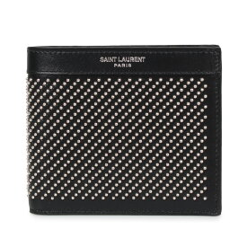 SAINT LAURENT PARIS STUD-EMBELLISHED WALLET サンローラン パリ 財布 二つ折り メンズ ブラック 黒 3613200VGUE [1/6 新入荷]