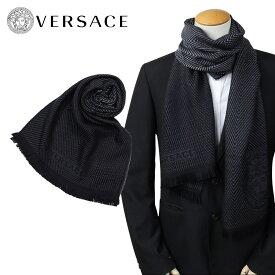 【訳あり】 ベルサーチ VERSACE マフラー ヴェルサーチ メンズ ウール イタリア製 カジュアル ビジネス ブラック 黒 0645 【返品不可】