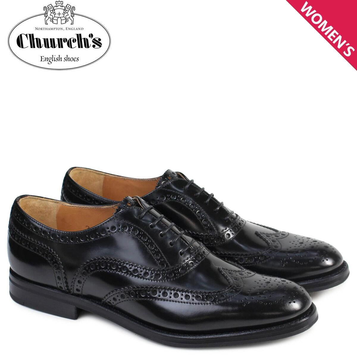 Churchs Burwood WG Polish Binder Calf 靴 レディース チャーチ バーウッド シューズ ウイングチップ 8705 DE0001 ブラック [12/21 再入荷]