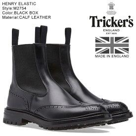 Trickers HENRY ELASTIC BROGUE BOOT トリッカーズ サイドゴアブーツ 5ワイズ メンズ ブラック M2754
