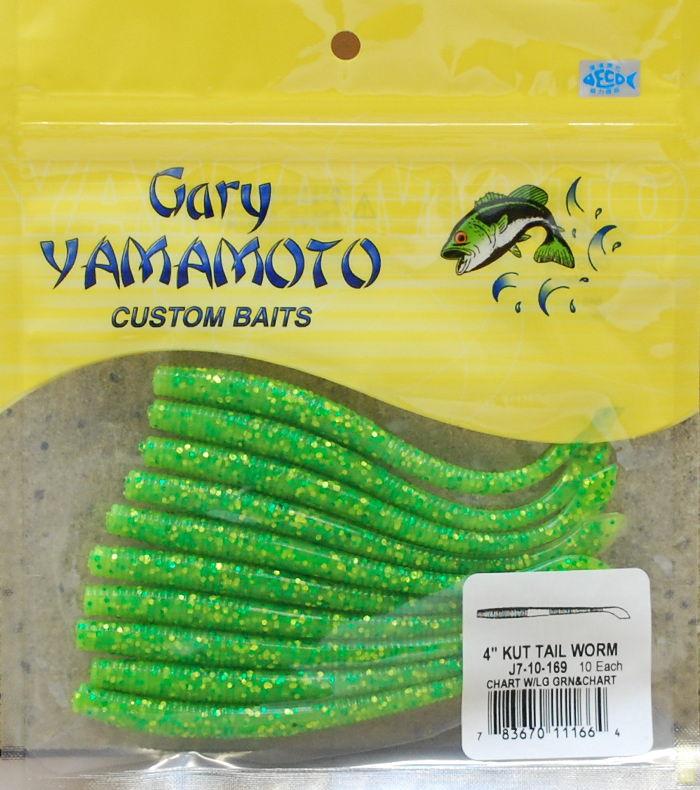 ゲーリーヤマモトカットテール4inc(10個入)169 チャート/チャート&ライムフレーク