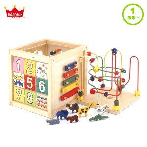 送料無料 おもちゃ ボックス 木製 仕掛け エドインター 森のあそび箱 1歳 以上 2歳 迷路 数 音 型はめパズル ビーズ 男の子 女の子 誕生日 知育 幼児 子供 室内 遊び 木 出産祝い プレゼント お
