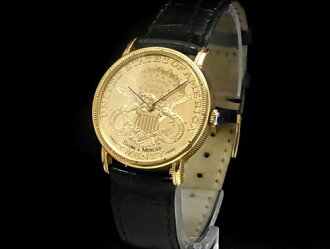 봄 및 メルシェ-BAUME&MERCIER-20 달러 동전 시계 18KYG/가죽 자동 남성용