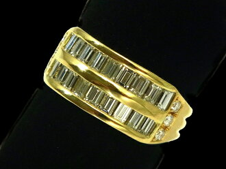 다이아몬드 링- RING - 2 라인 18 P버킷 다이어&6 P다이어 YG옐로우 골드 번뇌에서 벗어나 깨끗함/다이어(1.64 ct) 반지