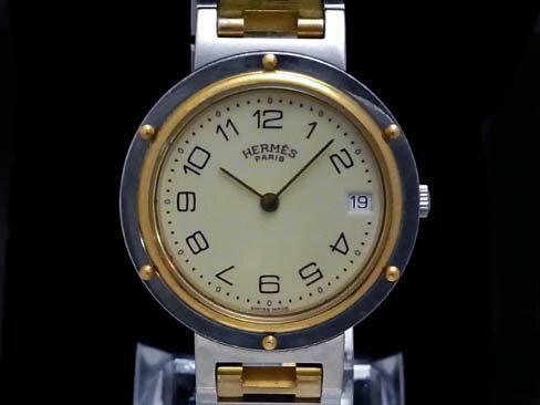 【USED】 エルメス - HERMES - クリッパー メンズ アイボリー SSケース/SSブレス クオーツ 桜新町 【Luxury Brand Selection】腕時計 【中古】