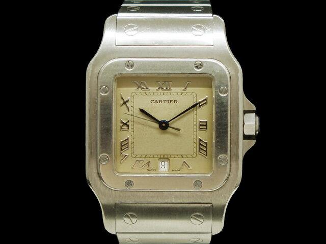 【USED】 カルティエ - CARTIER - サントスガルベ LM 銀 シルバーダイヤル クオーツ SS/SS メンズ 腕時計 【Luxury Brand Selection】 【中古】