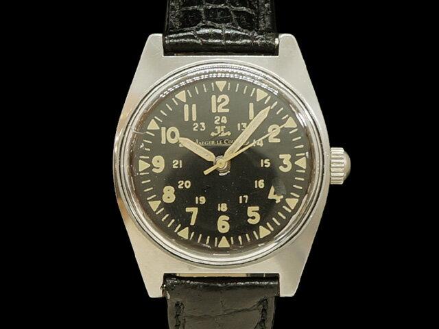 【USED】 ジャガールクルト - JAEGER LE COULTRE - ミリタリー ヴィンテージ アラビア SS/革 手巻き ブラックダイヤル メンズ 腕時計 【中古】