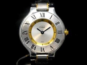 까르띠에- CARTIER -마스트 21 YGP・SS케이스/가죽 벨트 쿼츠 레이디스 손목시계