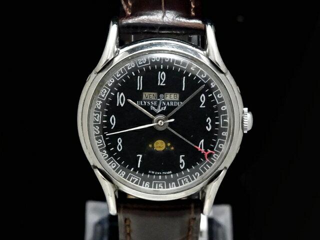 【USED】 ユリスナルダン - ULYSSE NARDIN - トリプルカレンダー ムーンフェイズ ヴィンテージ ブラックダイヤル SS/革 手巻き 腕時計【中古】