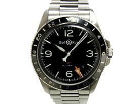 【USED】 ベル&ロス - Bell&Ross - ヴィンテージ BR V2-93 GMT BLACK スケルトンバック 2018年製 美品 人気! 黒 ブラック ダイヤル SS ブレス 自動巻 メンズ 腕時計 【中古】