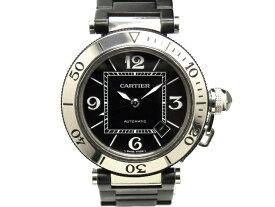 【USED】 カルティエ - CARTIER - パシャ シータイマー 人気! 希少 黒 ブラック ダイヤル 自動巻 SS / ラバー・SS メンズ ダイバー 腕時計 【Luxury Brand Selection】 【中古】