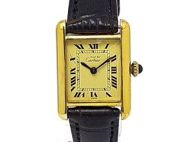 【USED】 カルティエ - CARTIER - マストタンク ローマンインデックス YGPケース/革 アイボリー文字盤 手巻き レディ—ス   腕時計【Luxury Brand Selection】 【中古】