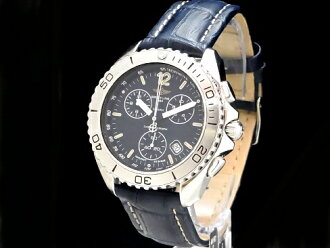 Breitling - BREITLING-shark chronograph out of print rare items! A53605 Navy letter Board SS / leather quartz mens Sakura shimmachi