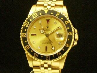 롤렉스-ROLEX-GMT 마스터 16758 18KYG 다이아몬드 루비 金無垢 남성용