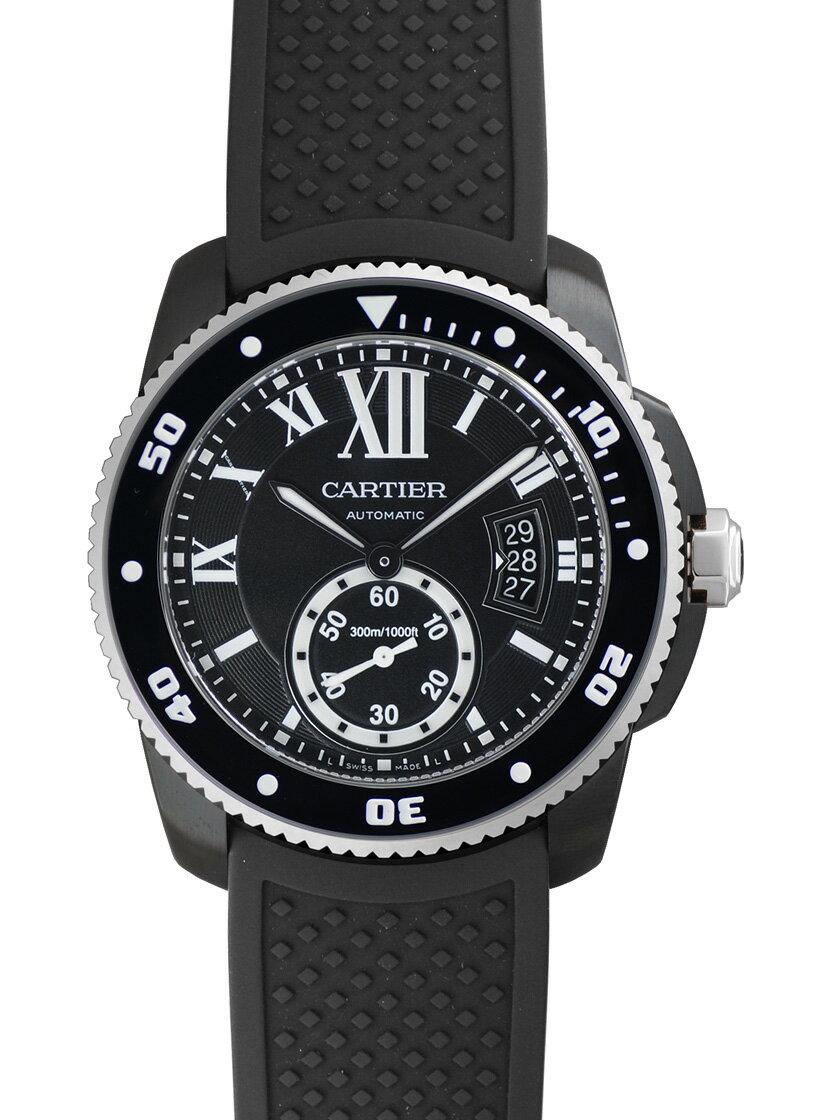 【新品】カルティエ WSCA0006 カリブル ドゥ カルティエ ダイバー カーボンウォッチ SS(ADLC)/ブラックラバー 自動巻き ブラック メンズ