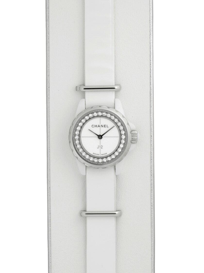 【新品】シャネル H4664 J12 XS ホワイトセラミック ホワイトエナメルレザー クオーツ ホワイト ダイヤ付き レディース 《ホワイトカーフ製カフ付属》