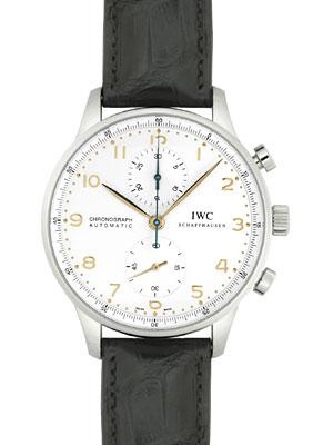 【新品】IWC メンズ IW371445 ポルトギーゼ クロノグラフ SS/ブラックレザー シルバー 金色針&インデックス 自動巻き フォールディングバック 《マイナーチェンジモデル》