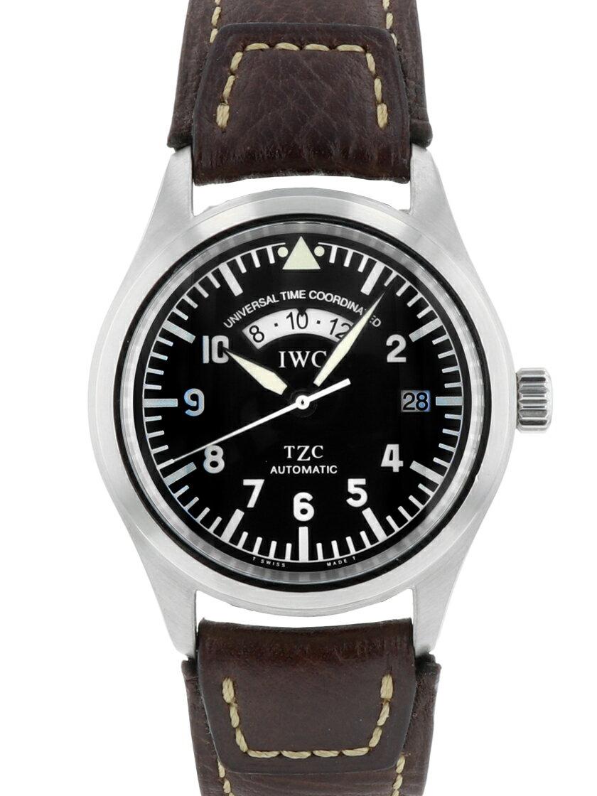 【中古】IWC IW325101 (3251-001) フリーガーUTC GMT機能 ブラック SS/ブラウンレザー 自動巻き 《生産終了レアモデル》