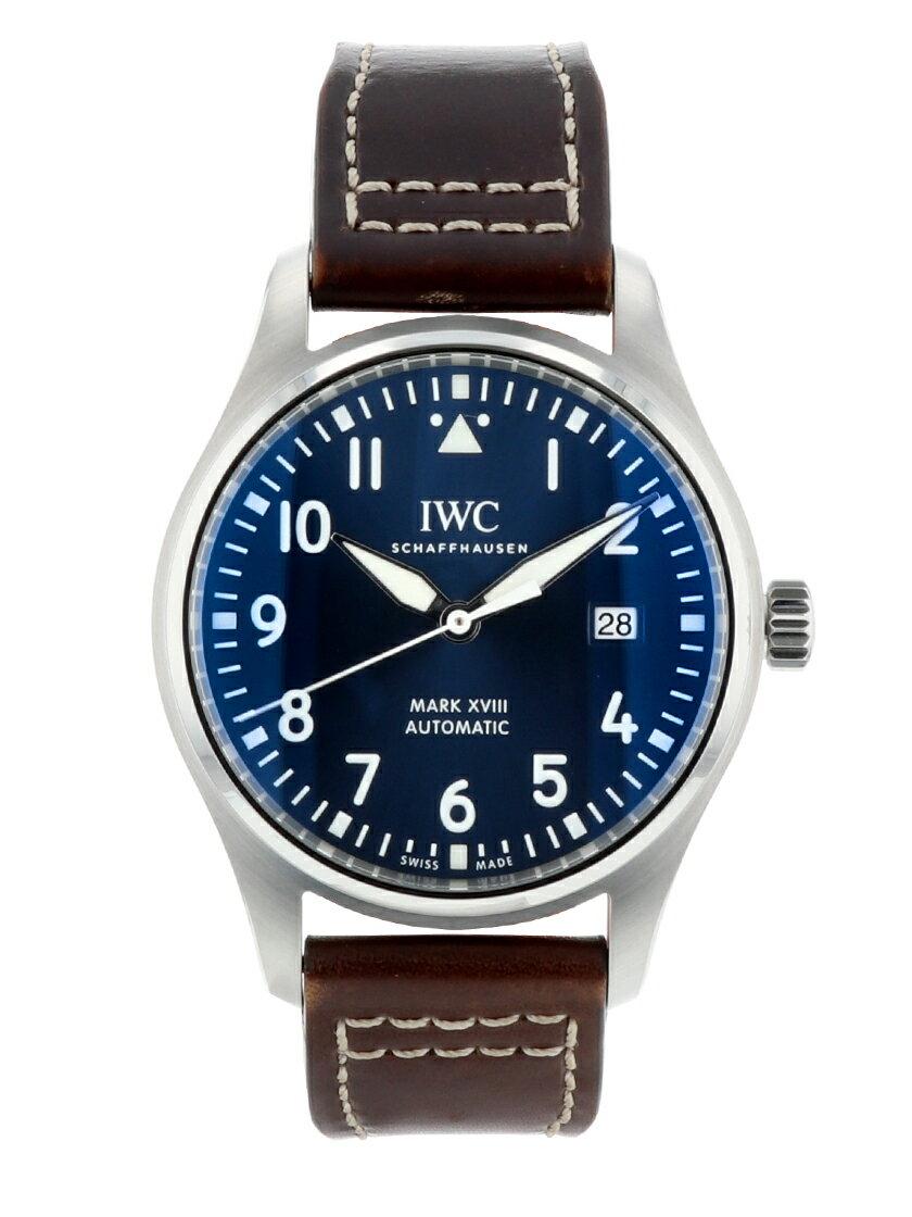 【中古】IWC IW327004 パイロットウォッチ マーク18 プティ・プランス SS/レザー ブルー文字盤 自動巻き
