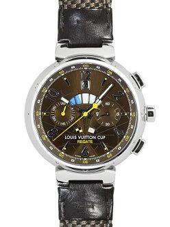 路易威登Q1021人曲線自動描繪器計時儀路易威登茶杯劃船比賽暗褐色表盤SS/棕色皮革