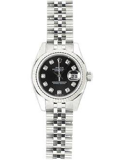 """롤렉스 179174G SS/WG 베젤 여성용 데이트 저스트 블랙 10P 다이아몬드 오토매틱 """"유명 인사 단골 브랜드 》"""