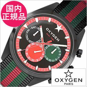 【おひとり様1点限り】オキシゲン腕時計 OXYGEN時計 OXYGEN 腕時計 オキシゲン 時計 スポーツ ディーティー ローマ マルチファンクション Sport DT Roma 40 メンズ レッド ブラック グリーン ROM-40-BLGNRE[アナログ おしゃれ 黒 緑 赤 6針]