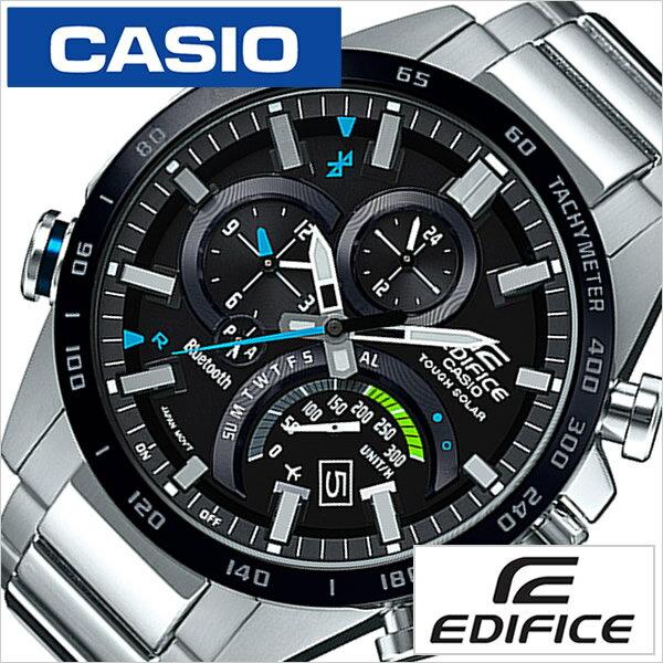 カシオ エディフィス 時計 CASIO EDIFICE 腕時計 メンズ ブラック EQB-501XDB-1AJF [正規品 電波時計 人気 防水 ソーラー Bluetooth ブルートゥース メタル ベルト シルバー][送料無料][入学 就職 祝い プレゼント ギフト][あす楽]