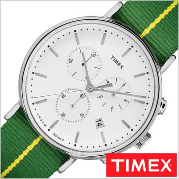 タイメックス 時計 TIMEX 腕時計 ウォッチ ウィークエンダー フェアフィールド クロノグラフ WEEKENDER FAIRFIELD CHRONOGRAPH 41MM メンズ ホワイト TW2R26900[正規品 人気 カジュアル シンプル ナイロン ベルト グリーン][送料無料][プレゼント ギフト]