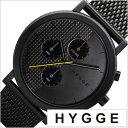 ヒュッゲ 時計 HYGGE 腕時計 2204 メンズ レディース ブラック HGE020005[正規品 北欧 ミニマル シンプル 個性的 イン…