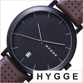 ヒュッゲ 時計 HYGGE 腕時計 2203 メンズ レディース ブラック HGE020063 正規品 北欧 ミニマル シンプル 個性的 インテリア 人気 ブランド 革 レザー ペアウォッチ ユニセックス デザイナーウォッチ ファッション コーデ ブラウン 送料無料 お祝い 冬