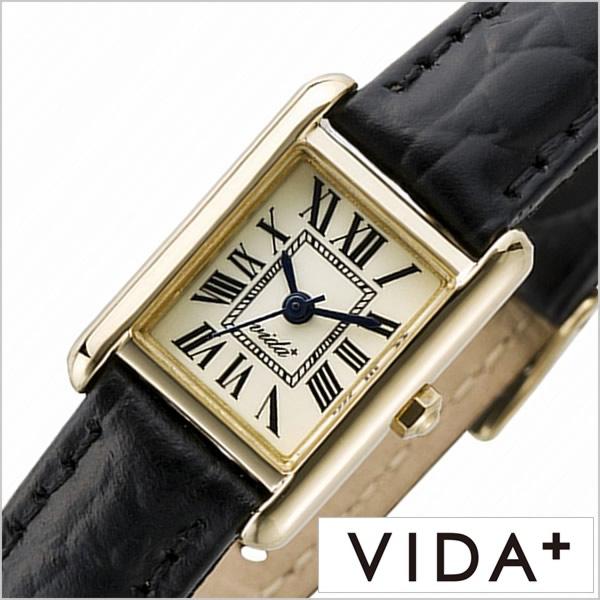 ヴィーダプラス腕時計 VIDA+時計 VIDA+ 腕時計 ヴィーダプラス 時計 ミニレクタンギュラー Mini Rectangular レディース アイボリー VD-83904-LE-BK [正規品 新作 防水 人気 革 レザー ベルト レクタンギュラー型 スクエア型 ゴールド ブラック][あす楽]