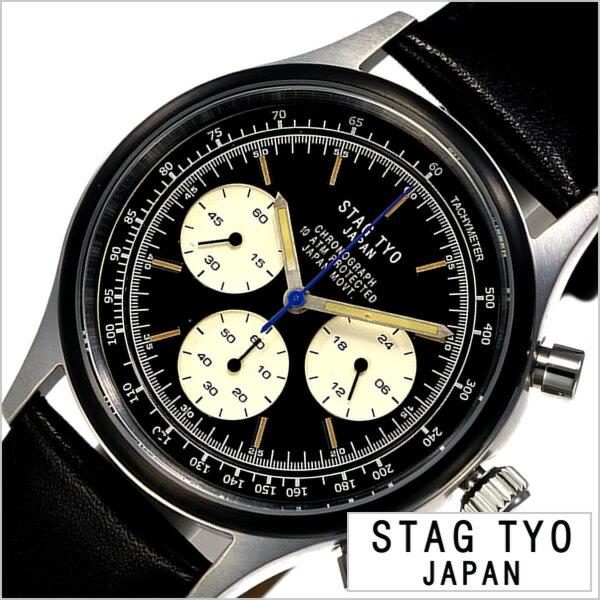 スタッグ ティーワイオー 腕時計 STAG TYO 時計 タイプ:1933 TYPE:1933 メンズ ブラック STG017LT2[正規品 人気 プレゼント ギフト カジュアル アメリカン レトロ ハンドメイド ビンテージ ヴィンテージ感 栃木レザー 革 シンプル クロノグラフ]