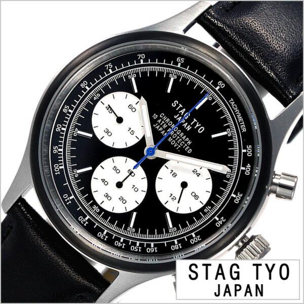 スタッグ ティーワイオー 腕時計 STAG TYO 時計 タイプ:1933 TYPE:1933 メンズ ブラック STG017S2[正規品 人気 プレゼント ギフト カジュアル アメリカン レトロ ハンドメイド ビンテージ ヴィンテージ感 栃木レザー 革 シンプル クロノグラフ]