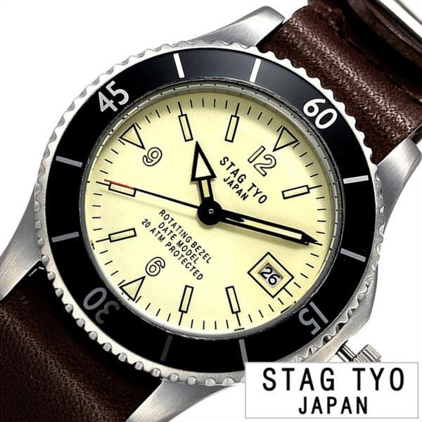 スタッグ ティーワイオー 腕時計 STAG TYO 時計 タイプ:1976 TYPE:1976 メンズ ホワイト STG018LT1[正規品 人気 プレゼント ギフト カジュアル アメリカン レトロ ハンドメイド ビンテージ ヴィンテージ感 栃木レザー 革 シンプル ブラウン ダイバーズウォッチ 海 夏]