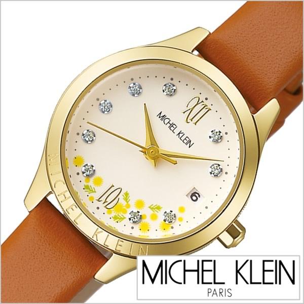 ミッシェルクラン 時計 ミモザの日限定モデル MICHELKLEIN 腕時計 レディース アイボリー AJCT703[正規品 限定 ミモザ 花柄 フラワー シルバー かわいい おしゃれ シンプル 革 レザー ブラウン ゴールド ラウンド ビジカジ ミシェルクラン プレゼント ギフト][あす楽]